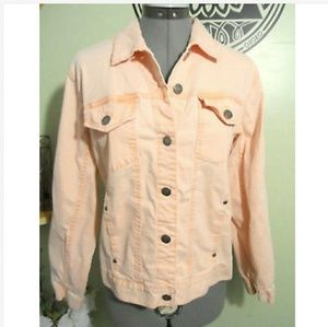 CHICO'S Vintage Wash Jean Jacket 1 Peach denimcoat